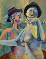 Surreal Modernist Portrait Oil Painting of Dancing Nudes Androgynous Male