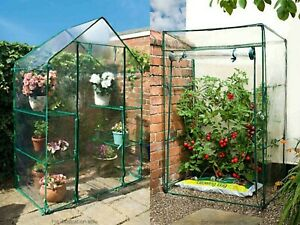 New Walk In Greenhouse PVC Plastic Garden Grow Green House with Open & 4 Shelves