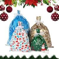 30pcs NEW Christmas Gift Bags Sacks Cello Candy Reusable Drawstring Wrap Multi