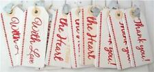 Pack Of 9 Wooden Gift Tags Red & White With Love Thank You Gift From The Heart