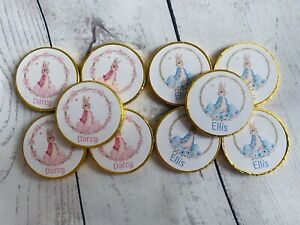 5 x Personalised Peter Rabbit Flopsy Bunny milk chocolate coins Easter hunt
