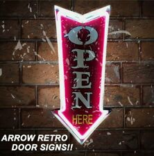 Open Neon Sign Home Decor Beer Bar Club Marquee Metal Tin Box Light Led Sign...