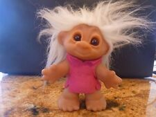 Vintage 1970's Thomas DAM 6 inch Troll Doll White Hair, Glass Eyes, Pink Felt