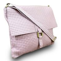 Made in Italy Damen Schultertasche Bag Clutch Echt Leder geflochten Vintage Rosa