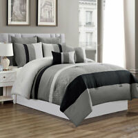 7 Piece Luxury Comforter Set-Grey/Black-(King)