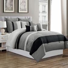 7 Piece Luxury Comforter Set-Grey/Black-(King)