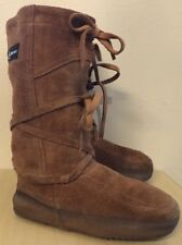 "STEGER MUKLUKS ""Ojibwa"" Brown Moosehide Leather Winter Snow Boots Women's Size 7"