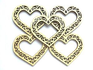 5 x Filigree Rustic Wooden Hearts Wedding invites Tags Embellishments