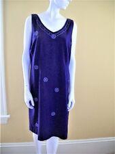 SAG HARBOR Sz 14 Linen Rayon PURPLE Sleeveless DRESS Embroidered Beads LARGE