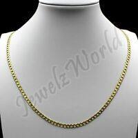 """10K Solid Yellow Gold Cuban Curb Link Chain Necklace 2MM 16"""" 18"""" 20"""" 22"""" 24"""" 26"""""""