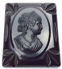 Womans Victorian Solid Black Carved Bakelite Cameo Mourning Brooch Pin