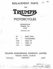 Triumph Parts Manual Book 1954 T110 TIGER 110 & TR5 TROPHY
