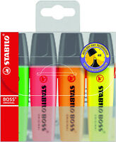 Stabilo Boss Original Highlighter Pens Markers Wallet of 4 - Assorted Colours
