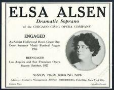 1927 Elsa Alsen photo opera singing recital tour booking vintage trade print ad