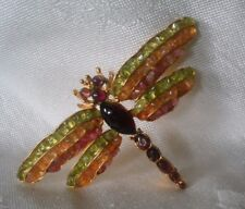 SWOBODA DRAGONFLY PIN BROOCH ~ ASSORTED GEMS ~ GORGEOUS!