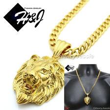 "24""MEN Stainless Steel 6mm Gold Cuban Curb Link Chain Necklace LION Pendant*GP50"