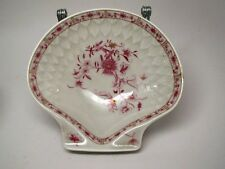 A. Vignaud Limoges shell shaped porcelain dish red and gold decoration 1707b