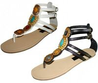 Women's Sandals Gladiator Strappy Flats T-Strap Thong Beaded Shoes, Sizes: 5-10