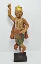 Wooden God Krishna Figurine Beautiful Original Old Antique Fine Carved Painted