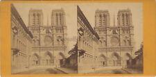 Façade Nôtre-Dame de Paris Stereo Vintage Albumine ca 1865