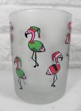 Culver Pink Flamingo Santa Elf Outfits DOF Cocktail Bar Glass Set of 2 New