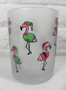 Culver Christmas Santa Elf Pink Flamingos DOF Cocktail Bar Glass Set of 2 New