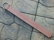 BROWN Heavy 2-Tongue STRAP TAWSE Belt w Large Metal D-Ring - HORSE TRAINING TOOL