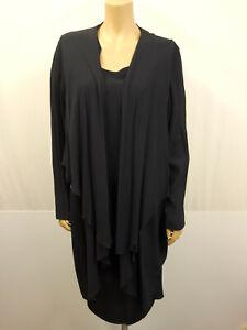 OKISHI Designer Kostüm Gr.44 USA16 Kleid Zipfeljacke Jacke Mantel Dunkelblau