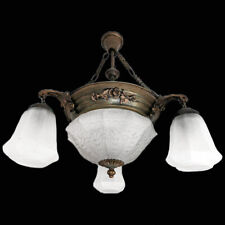 Antique French Degué Style Art-Nouveau.Art-Deco Frosted Glass 5-Light Chandelier