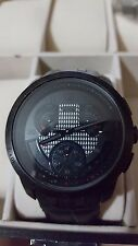 Men's Swatch watch Cold hour Black leather band chronograph YRB402