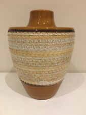 West German Pottery Vintage Vase Scheurich 40-19 Brown & Cream 70's