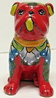 Talavera Mexican Pottery Red Dog Bank Folk Art