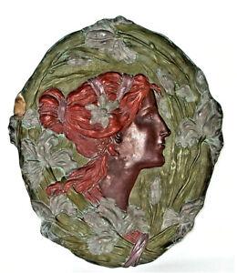 großes JUGENDSTIL - ART NOUVEAU Keramik Relief 47,5cm - ERNST WAHLISS Turn Wien