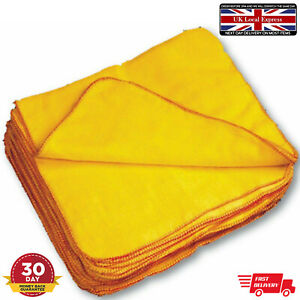 Yellow Cleaning Cloths Duster Microfiber Soft Kitchen Car Valeting Polishing New