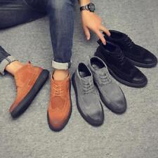 Mens Vintage Suede Lace Up Brogues Retro Sz38-45 Fashion Chic Ankle Boots Shoes