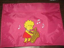 "Lisa Simpson Playing Saxophone Sheet Music Tote w/ Handle  Pink New 11"" x 15"""