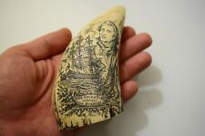 "Scrimshaw resin faux carved tooth - With ship ""Quedagh"" and captain - 13 cm high"