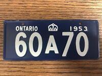 Vintage 1953 Ontario General Mills Cereal Bicycle License Plate