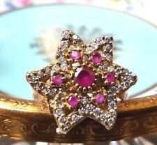 Vintage Ruby & Cubic Zirconia Ring 925 Sterling Silver Plated Size 8