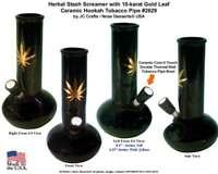 Gold Leaf Water Smoking Hookah Black Tobacco Pipe #2629 Ceramic Glass Made USA