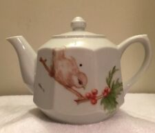 Hand Painted Teapot Artist Signed Kaye '77 Bird and Daisies