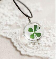 UK. Lucky Wish bottle Shamrock 4 Leaf Clover Pendant Cord Necklace St Patricks