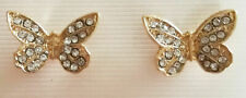 Stud Earring Butterfly 2cm Gold with Rhinestones BNWT