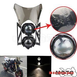 Universal Motorcycle E-marked Dual Headlight Headlamp Windshield Projector