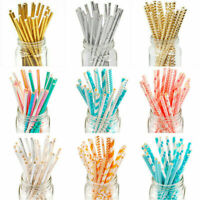 25Pcs Gold Drink Paper Straws Birthday Party Supplies Theme Polka Baby Shower PR