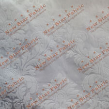 Damask Flocked Taffeta Fabric 58 inches width sold by the yard White / White