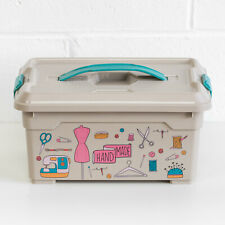 More details for plastic sewing storage box case basket accessories organiser dressmaking tools