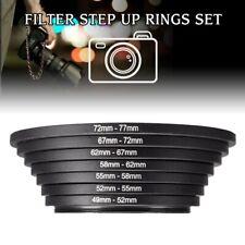 7Pcs/Set 49-52-55-58-62-67-72-77mm Metal Step Up Rings Lens Adapter Filter Set
