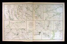 Civil War Map Savannah to Goldsboro to Washington 20th Corps Columbia Richmond