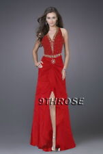 DROP THEIR JAWS! BEADED HALTER RED FORMAL/EVENING/PROM/BALL GOWN AU 18/US 16